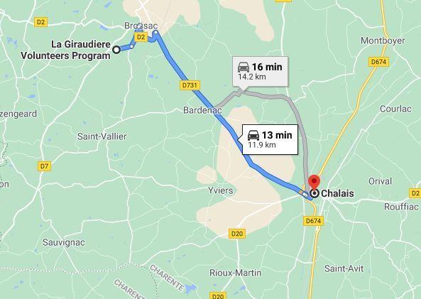 Map Chalais distance brossac